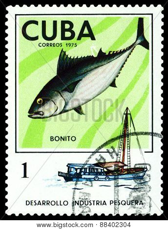 Vintage  Postage Stamp. Long-finned Tuna.