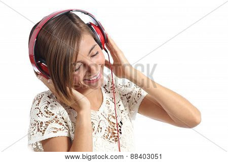 Candid Happy Woman Feeling The Music From Red Headphones