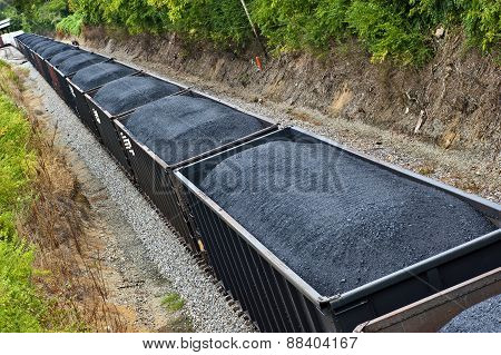 Long Coal Train On Train Tracks