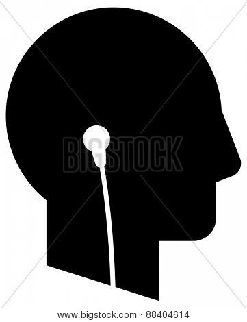 Head with earphones icon