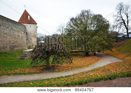 Tallinn fortification with towers in autumn