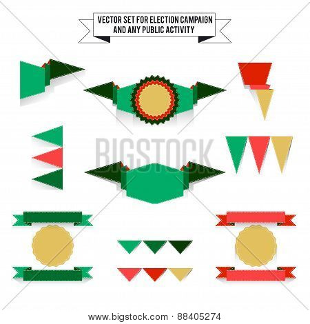 Set Of Elements On White Background, Flags
