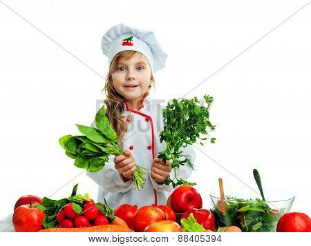 Child In The Kitchen Preparing A Meal