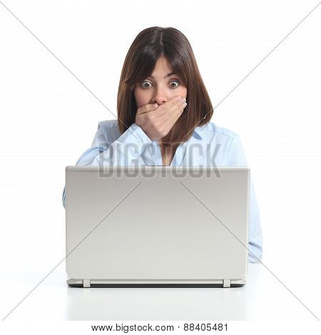 Worried Woman Watching A Laptop
