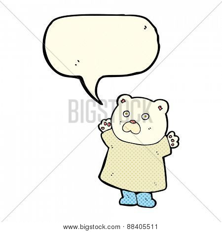 funny cartoon polar bear with speech bubble