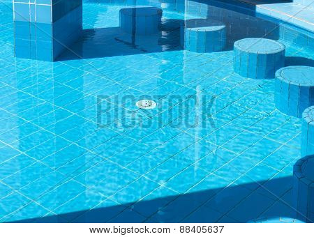 clear water in the modern swimming pool