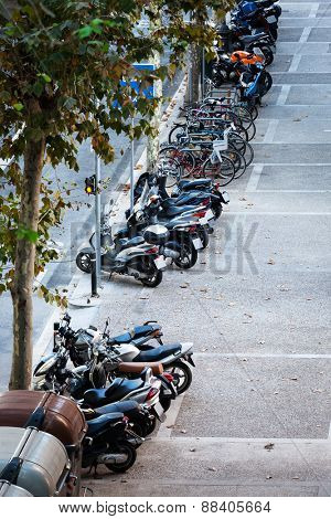 parking bicycles and motorbikes in the city