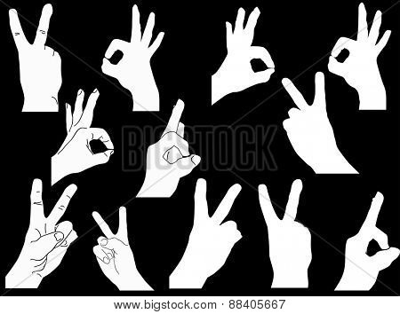 illustration with set of hands isolated on black background