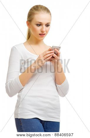 Young woman with mobile phone isolated