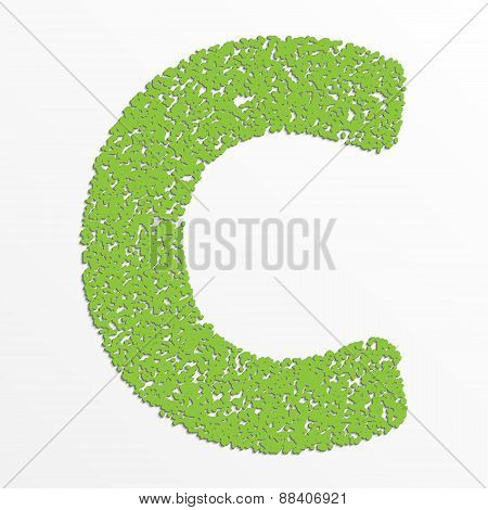 Vector multi color alphabet with grain texture, letter C