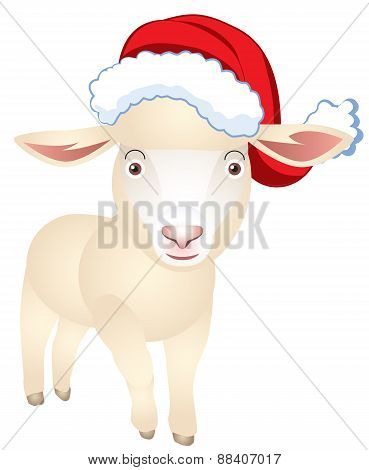 Sheep In A Cap Of Santa Claus