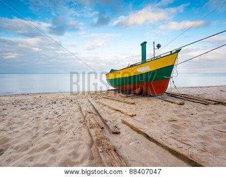 Fishing Boat On Baltic Sea Shore