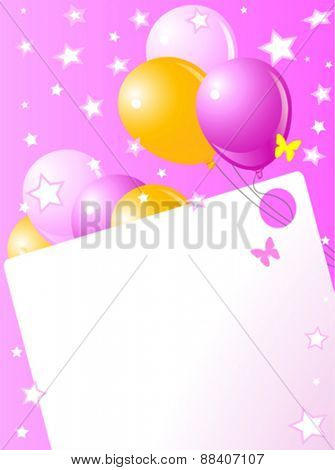 Pink birthday card with balloons, hat and plenty of copy space