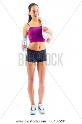 Sporty girl with water isolated