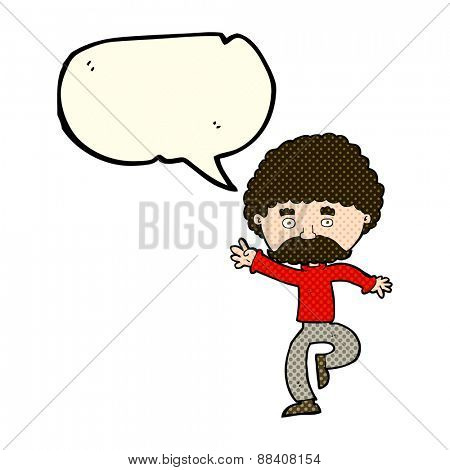cartoon mustache man disco dancing with speech bubble