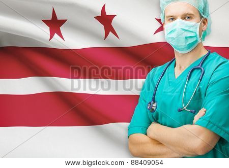 Surgeon With Us State Flag On Background Series - District Of Columbia