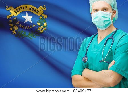 Surgeon With Us State Flag On Background Series - Nevada