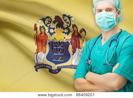 Surgeon With Us State Flag On Background Series - New Jersey