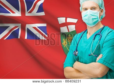 Surgeon With Canadian Privinces Flag On Background Series - Ontario