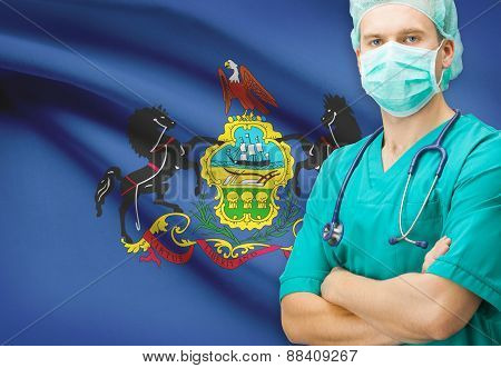 Surgeon With Us State Flag On Background Series - Pennsylvania