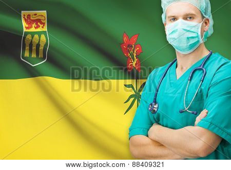 Surgeon With Canadian Privinces Flag On Background Series - Saskatchewan