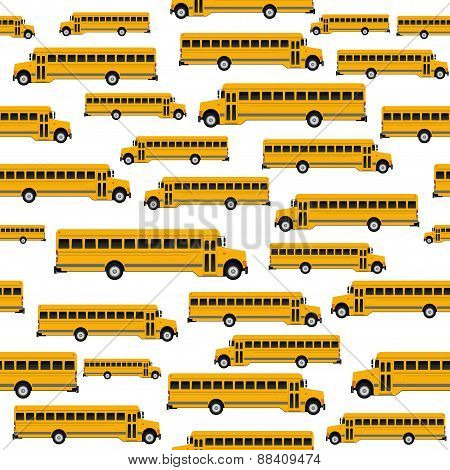 School Bus Seamless Pattern