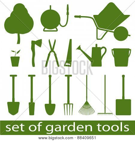 Set of icon garden tools. Vector illistration.