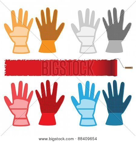 Construction gloves isolated on white background. Set of icons. Vector illustration.