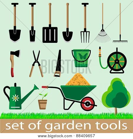 Set of garden tools. Icon. Vector illistration.