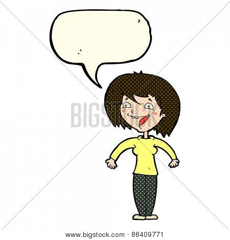 cartoon excited woman with speech bubble