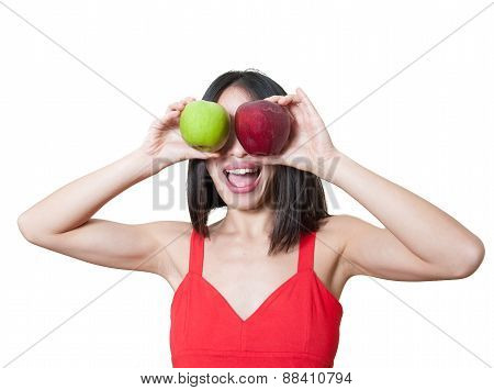Funny Young Woman With Apples Over Eyes Isolated
