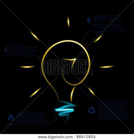 Stylish conceptual neon digital light bulb idea design.