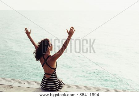 Woman Enjoying Serene Ocean Nature