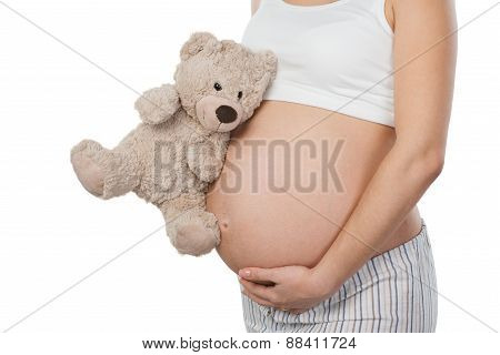 Close up of pregnant woman with teddy bear