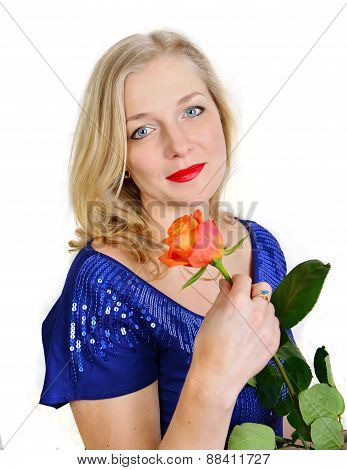 Blonde Woman Holding  Rose