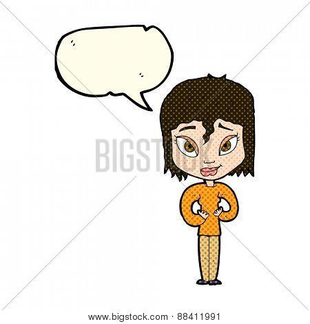cartoon satisfied woman with speech bubble