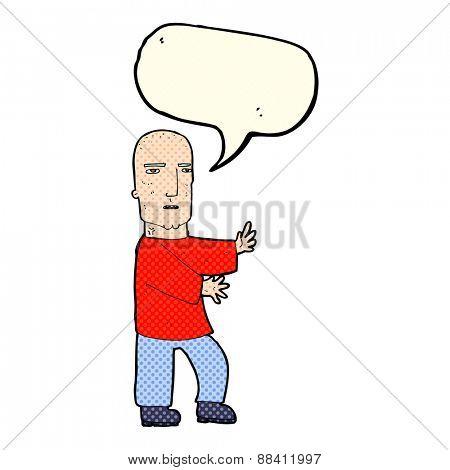 cartoon tough man  with speech bubble
