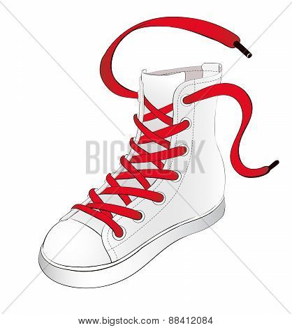 White Sneakers With Red Shoelaces