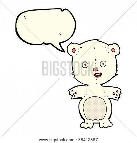 cute polar bear cartoon with speech bubble