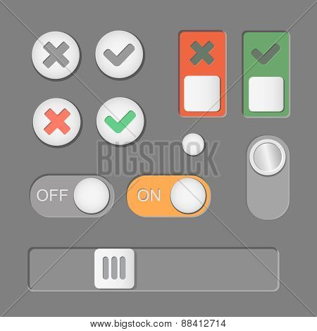 Vector Toggle switch icons on dark background. On and Off, Check Mark. skrollbar