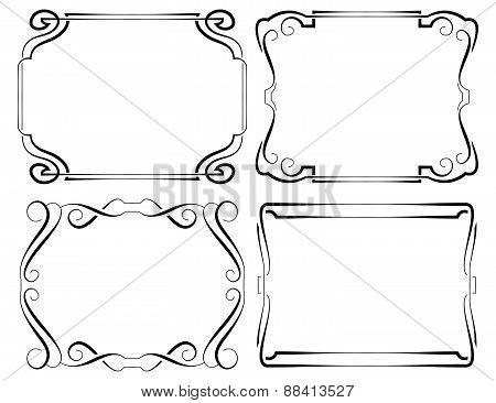 Set Of Vector Framework. Black On White