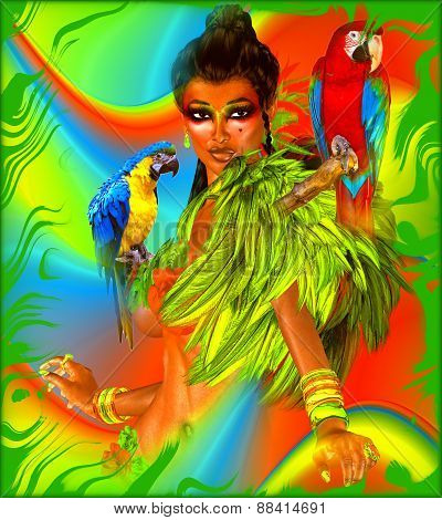 Parrots on sexy woman's shoulders with green feathers.