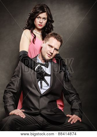 Portrait Of Elegant Couple In The Tender Passion.