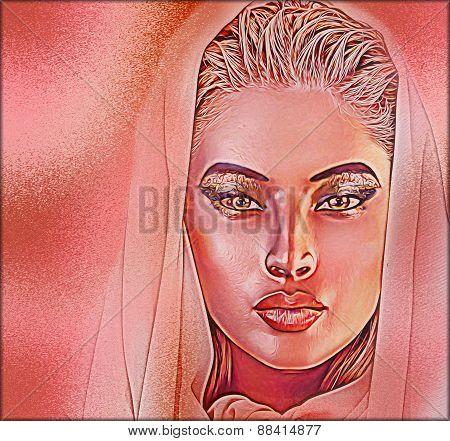 Beautiful veiled woman, close up face.