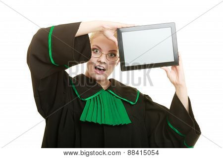 Woman Lawyer Holds Tablet Blank Copy Space.