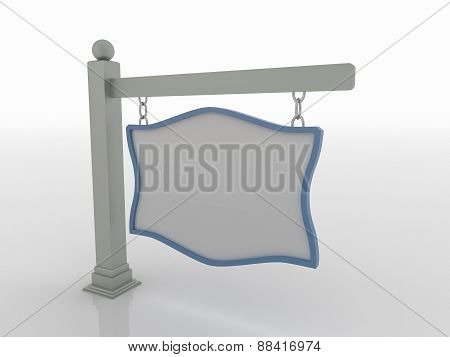 Signboard On Post With Chains On White Background