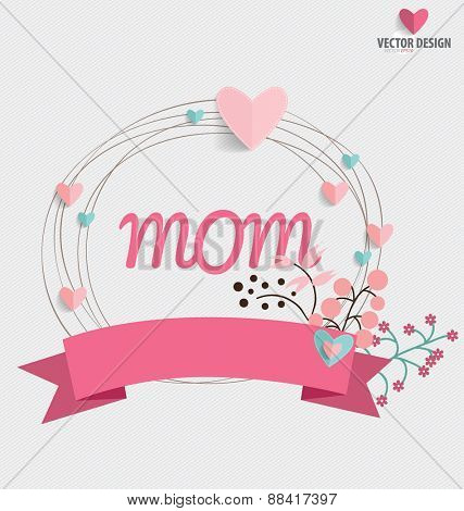 Happy Mother's Day, Floral bouquets with ribbon and heart, vector illustration.