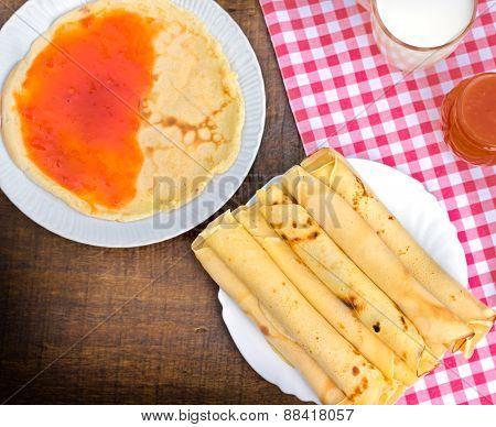Pancakes with apricot jam - marmalade