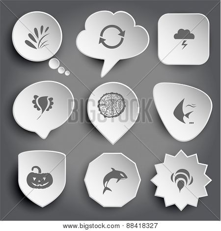 plant, recycle symbol, thunderstorm, bird, cut of tree, fish, pumpkin, killer whale, bee. White raster buttons on gray.