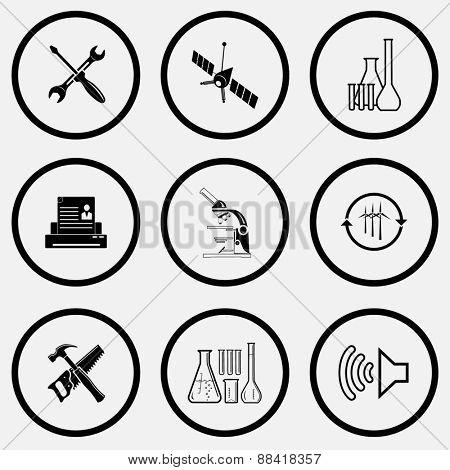 Tehnology set. Black and white set raster icons.